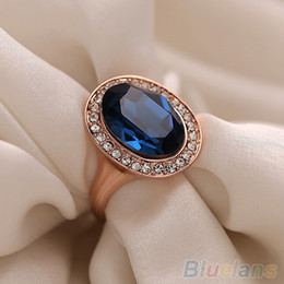 Wholesale 9k Rings - Women's Fashion Korean 9K Rose Gold Plated Crystal Alloy Party Jewelry Ring 1UAN