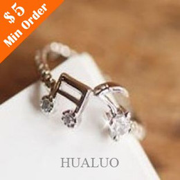 Wholesale Cheap Music Notes - New Fashion Cheap Good Quality Adjustable Music Note Rhinestone Rings# R666 R689