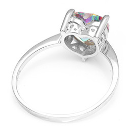 Wholesale mystic fire topaz rings - 2015 Brand New Hot Sale 2.6ct Genuine Rainbow Fire Mystic Topaz Solid 925 Sterling Silver Ring Vintage Jewelry