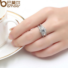 bamoer platinum plated couple flower ring bridal set for women with aaa cubic zircon surround jewelry yir037 - Platinum Wedding Rings For Her