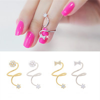 Wholesale Jewelry For Finger Joint - Rhinestone Bow Joint Rings Spiral Adjustable Crystal Finger Ring Jewelry For Women Wholesale 2 style