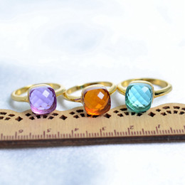 Wholesale Orange Blue Crystal Jewelry - Blue Purple Orange Crystal Fashion Jewelry For Women Acrylic Stone Ring Hot Selling Gold Plated Rings Christmas Gift