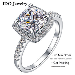 Wholesale Cushion Cut Engagement Rings - 2015 New 2ct Engagement Rings Cushion Radiant Cut Wedding Simulate Diamond Jewelry For Women Fashion anel aneis anillos OR48