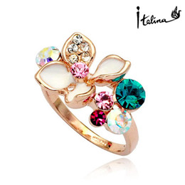 Wholesale Italina Rigant Flower - Italina Rigant 2015 Elegant Flower Geunie Rings For women With Austrian Crystal Stellux Utopia Jewelry #RG95842