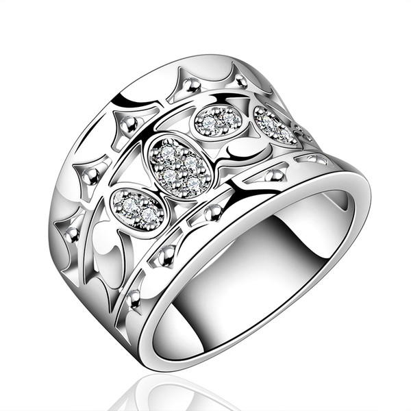 2015 Retro Wide 925 Silver ring Crystals Wedding Rings for women Hollow out wide engagement Ring aneis anel feminino anillos