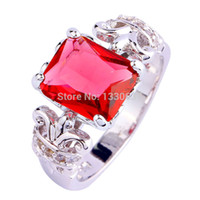 Wholesale Emerald Cut Ruby - 2015 Women Party Jewelry Emerald Cut Ruby Spinel & White Sapphire 925 Silver Ring Size 6 7 8 9 10 11 Wholesale Free Shipping