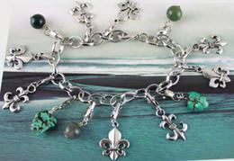 Wholesale Green Tibetan Turquoise - 5PCS Tibetan silver color Fleur de lis Charm Chain bracelets #20122