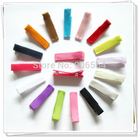 """Wholesale Wholesale Lined Hair Clips - Wholesale-300pcs 1.25"""" 32mm DIY hair Accessory clips Baby girl Ribbon Hair Bows Clip Ribbon Lined Alligator Hair Clips 16 colors"""