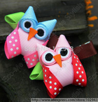 "Wholesale Owl Print Ribbon - Wholesale-New 10pcs lot 2"" grosgrain ribbon Owl print Hair bow Clip, Girls Hair Clips, baby small hair bow,Hair Accessories 5072"