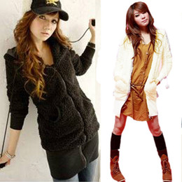 Wholesale Teddy Bear Ears Hoodie - Fashion Lady Long Fleece Hoodie Coat Teddy Bear Ear Tops Hooded Jacket Outerwear Free shipping Drop shipping