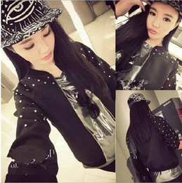 Veste À Moto Cloutée Pas Cher-printemps 2015 RIVETS punk STUDDED Motorcycle Jacket de Spike automne vêtements style européen outerwear femmes les manteaux de femmes vintages
