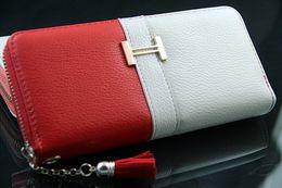 Wholesale Patchwork Wristlet - Women's Colorful Patchwork PU Leather Clutch Bag Wallet Wristlet Fringer Purse Checkbook Girl Handbag Tassel Coin Pouch BBB117
