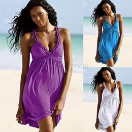 Wholesale Sexy Bikinis Discount - Discount Swimsuit Cover Up Beach Dress Sexy Strap bikini Swimwear Mini Cotton Fashion sleeveless Beachwear Ladies Solid 34