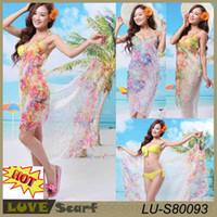 Wholesale Hot Beautiful Sexy Body - New 2015 Floral Design Beach Cover Up Pareo Bathing Swimsuit Sexy Swimwear Beautiful Beach Wear Chiffon Hot Summer Beach Dress
