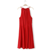 Wholesale Monochrome Dresses - 2015 new round neck mercerized cotton beach dress strap dresses Free Shipping woman monochrome