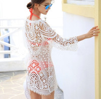 Wholesale White Crochet Swim Suit - 2015 Women Swimwear Lace Bikini Bathing suit Crochet Cover ups Swim Suit Beach Dress