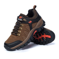 Wholesale Camel Men S Hiking Shoes - DANCHEL hiking shoes F&S 2015 spring and autumn new men outdoor shoes camel leather low -top lace mesh casual big size men
