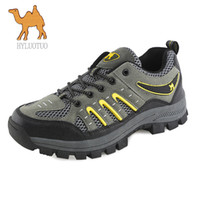 Wholesale Camel Men S Hiking Shoes - 2015 HY Camel summer new athletic genuine leather hiking shoes, outdoor shoes , men 's sneakers breathable mesh shoes