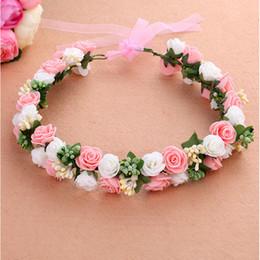 Wholesale Wreath Summer - 2015 summer style fashion flower girls hair accessories wreath crown for wedding tiara headwear head kids children rose hh5007
