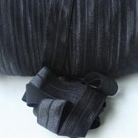 "Wholesale wholesale foe printed elastic - 22mm 7 8""solid foe #030 Black Fold Over Elastic 100 yards elastic hair ties free shipping,accept custom print"