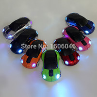 Wholesale Branded Mini Laptop Notebook - Wholesale-Brand 2015 New Mini 2.4Ghz 1600DPI 10m Wireless Car Shape Colorful USB LED Optical Mouse Mice For PC Laptop Notebook