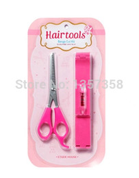 Discount hair cuts bangs - Wholesale-Korean DIY Bangs Hair Styling Tool Kit Scissors Beatuty Trim Thinning Balance