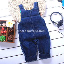 Wholesale Cheap Jumpsuits Free Shipping - Baby boy jeans bib pant baby girl overall children jeans pant kids denim jumpsuits free shipping cheap stock