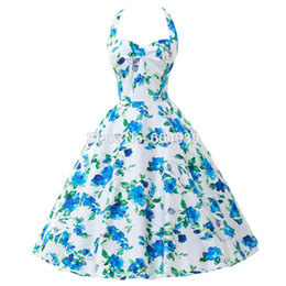$enCountryForm.capitalKeyWord Canada - Summer Style 40s 50s 60s Rockabilly Retro Vintage Swing Audrey hepburn dress Cotton Flower print Party Dress Plus Size vestidos