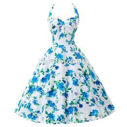 Wholesale Print Audrey - Summer Style 40s 50s 60s Rockabilly Retro Vintage Swing Audrey hepburn dress Cotton Flower print Party Dress Plus Size vestidos