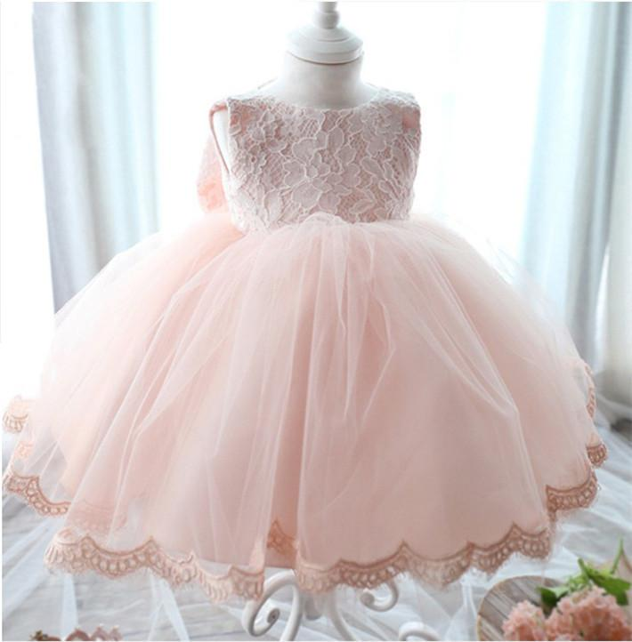 2018 Delicate Flower Girls Pink Lace Tutu Dresses With Big Bow ...