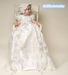 Wholesale Custom Made Hats - Cheap Custom Made Lovely White and Ivory Lace Baby Clothing Dress Christening Gowns With Hat Long Gown