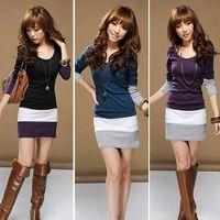 Wholesale Long Sleeved Dresses Cheap - New Fashion 2015 Womens Casual Dress Summer Autumn Slim Long-sleeved Mini Women Dress 3 Colors Plus Size Vestidos Cheap Clothes
