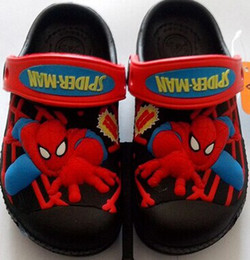 Wholesale Boys Spiderman Slippers - free shipping 2015 cartoon 3D pattern spiderman black color Clog garden shoe for children sandal slippers boys and girls flat