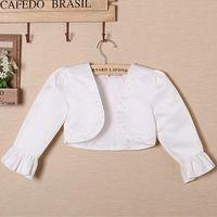 Wholesale Short Sleeve Cardigans For Girls - Fashion white short sleeve girl coat pearls children jackets for 3,4,6,8,10,12 age clothing for girls wedding dresses KDA-1501