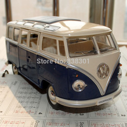 Wholesale Diecast 64 - Brand New KINGSMART 1 24 Scale Car Toys 1962 Volkswagen Classic Hippy Bus Blue Diecast Metal Pull Back Car Toy For Gift Loose