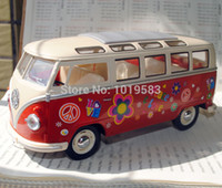 Wholesale Diecast Bus Toy - Brand New 1 24 Scale Car Model Toys Flower Pattern Version 1962 Volkswagen Classic Bus Diecast Metal Car Model Toy For Gift Kids