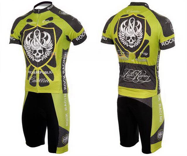 Cool Skeleton Skull Rock Racing TEAM Short Sleeve Green Cycling Jersey + Bib Short Size:S-XXXL