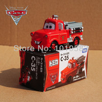 Wholesale Tow Mater Diecast Car - TOMY TOMICA C-35 1 55 Scale Pixar Cars 2 Toys Fire-engine Version Tow Mater Fire Truck Diecast Metal Pixar Car Toy New In Box