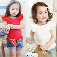 Wholesale Bow Knot Jeans - Girls Kids Ruffled Sleeves T-shirt+ Bow-knot Jeans Pants 1-6Y 2PCS Set Outfits