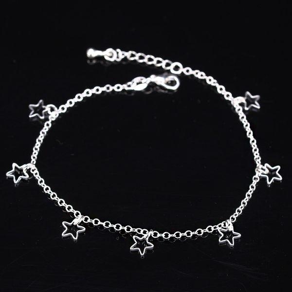Atacado-Fashion mulheres pé jóias tornozelo cadeia 925 tornozeleiras de prata esterlina Pentagrama Estrela Pingente de prata Sterling jóias Atacado