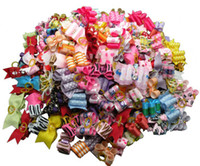 Wholesale Dogs Accessories Ribbon - 60PC Lot Mixed Package!Ribbon Dog Hair Bows Handmade Pet Hair Accessories For Dogs Grooming Bows