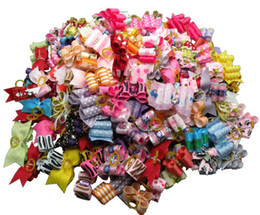 Hair accessories packaging online shopping - 60PC Mixed Package Ribbon Dog Hair Bows Handmade Pet Hair Accessories For Dogs Grooming Bows