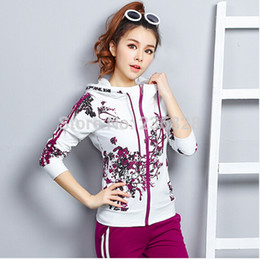 New 2015 Spring Women's Tracksuits Sportswear Set Sports Suit For Girls Jogging Suits Costumes Female Print Runway Clothing