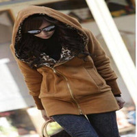 Wholesale Leopard Zip Up Coat - 2015 Womens Lady's Trendy Leopard Lining Fleece Hoodies Zip Up Outerwear Warm Jacket Coat Streetwear M, L bz653220