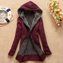 Wholesale Ladies Zip Up Hoodies - New Autumn Women Hoodies Sweatshirts Warm Zip Up Outerwear Ladies Long Sleeve Hooded Cardigan Coat with Pockets 6 Colors