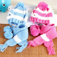 Wholesale Ship Dropping Wholesale Dog Apparel - Pet Dog Apparel Cap Collar Clothes Winter Costume Warm Scarf Pom-pom Knitted Hat Free Shipping & Drop Shipping
