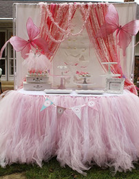 Wholesale Perfect Shower - 2015 Pink Table Tulle Tutu Skirt Perfect For Birthday Party Baby Shower Bridal Wedding Holiday Supplies Handmade Customize