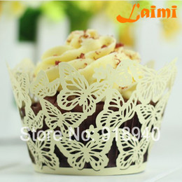 Wholesale Cupcake Wrapper Yellow - Yellow Butterfly Wedding Lace Laser Cut Out Cupcake Wrappers Wedding Party Free Shipping