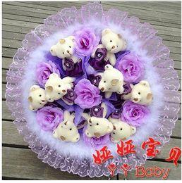 Wholesale Purple Teddy Bear Flowers - New Fashion Noble Purple Teddy Bear Cartoon Bouquet Of Fake Flowers. Upscale Raw Silk Roses Bouquet. Cheap Free Shipping
