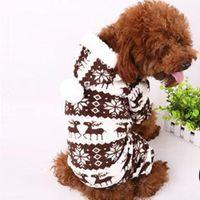 Wholesale Dogs Jumpsuit Fleece - Fashion Pet Dog Fleece Warm Snow Hoodie Coat Puppy Soft Snowflake Deer Jumpsuit